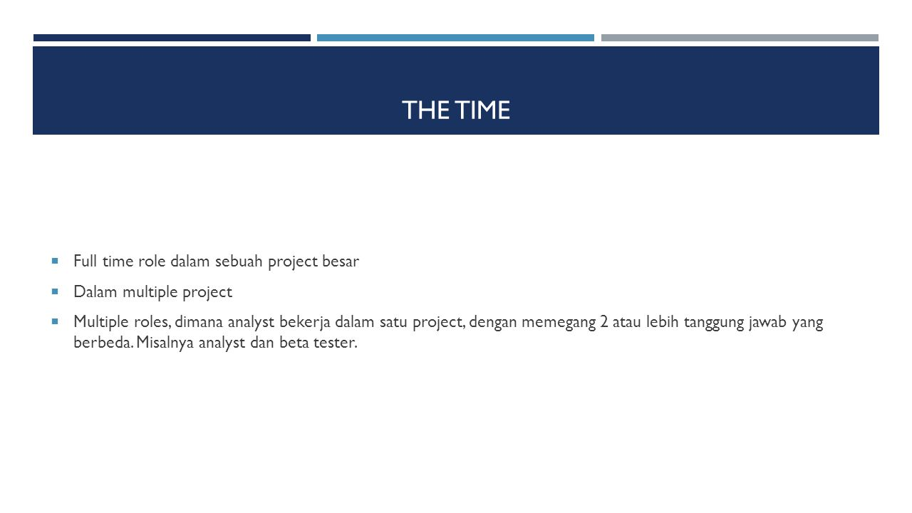 The Time Full time role dalam sebuah project besar