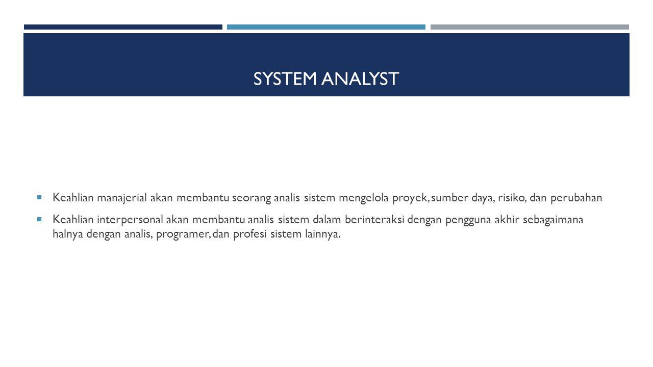 System Analyst Keahlian manajerial akan membantu seorang analis sistem mengelola proyek, sumber daya, risiko, dan perubahan.