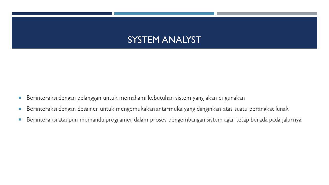System Analyst Berinteraksi dengan pelanggan untuk memahami kebutuhan sistem yang akan di gunakan.