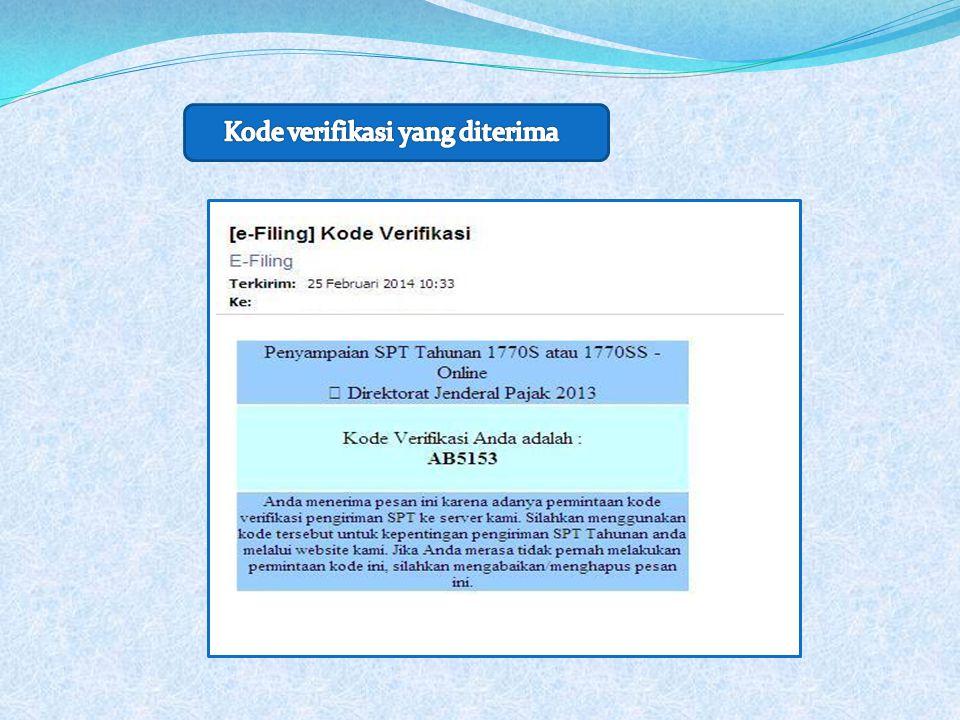 Kode verifikasi yang diterima
