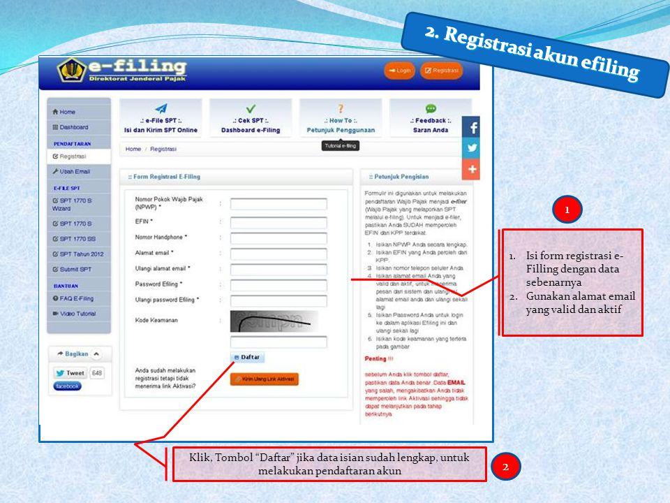 2. Registrasi akun efiling