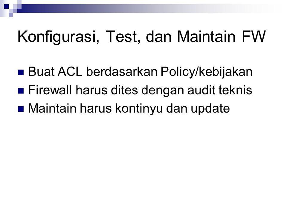 Konfigurasi, Test, dan Maintain FW