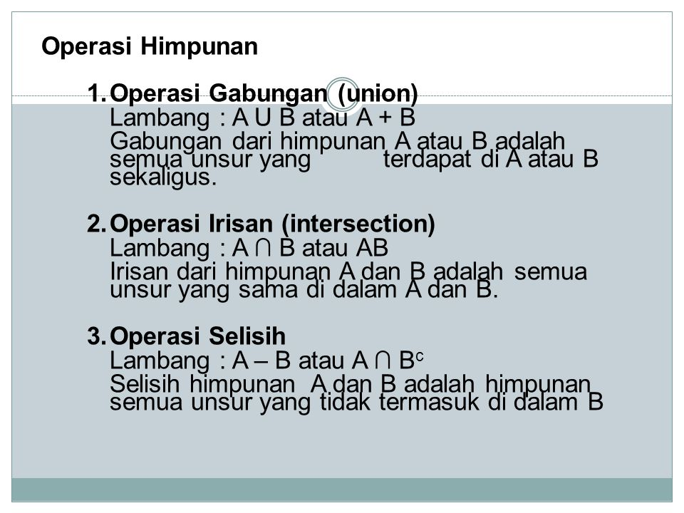 Operasi Himpunan 1.