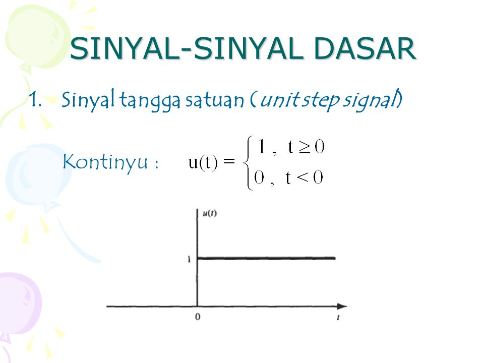 SINYAL-SINYAL DASAR Sinyal tangga satuan (unit step signal) Kontinyu :