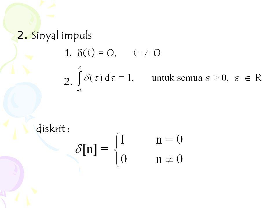 2. Sinyal impuls 2. diskrit : 1. d(t) = 0, t 0