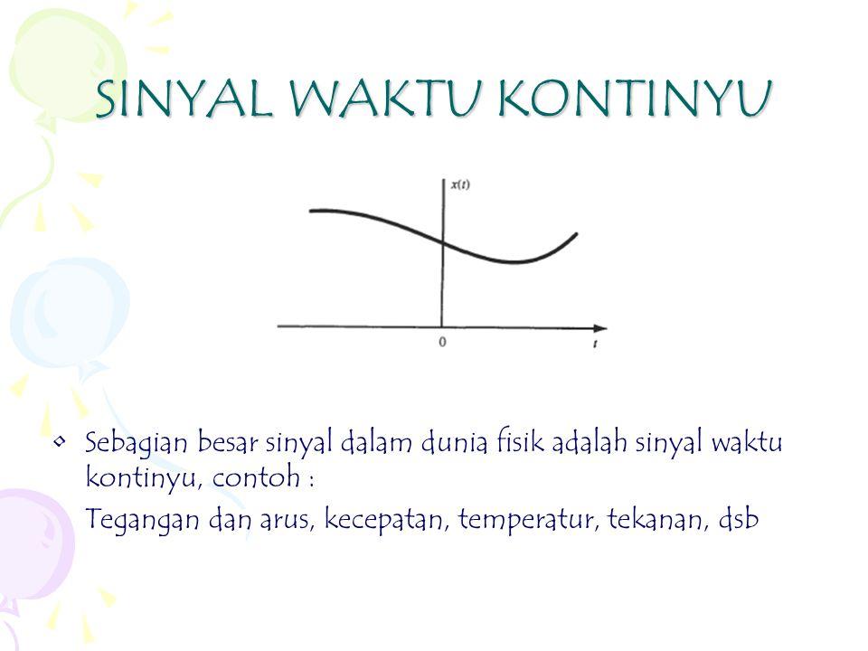 SINYAL WAKTU KONTINYU Sebagian besar sinyal dalam dunia fisik adalah sinyal waktu kontinyu, contoh :