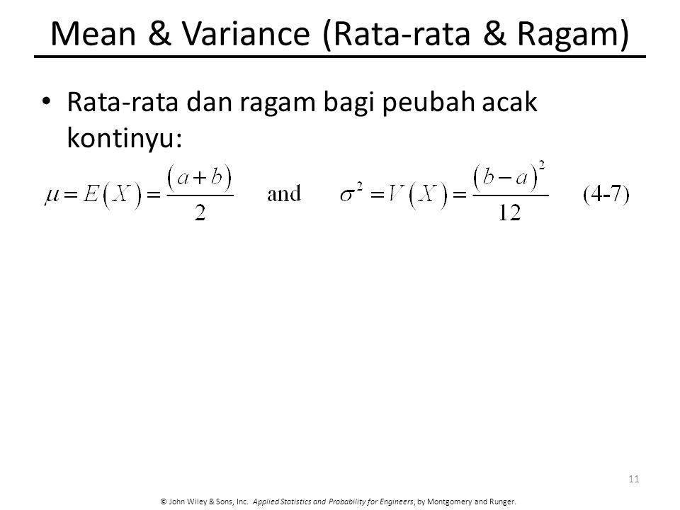 Mean & Variance (Rata-rata & Ragam)