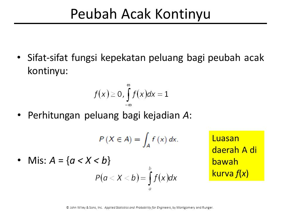 Peubah Acak Kontinyu Sifat-sifat fungsi kepekatan peluang bagi peubah acak kontinyu: Perhitungan peluang bagi kejadian A: