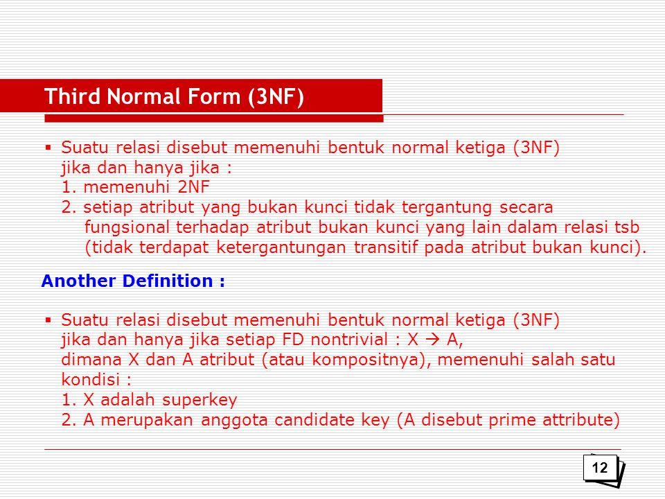 Third Normal Form (3NF) Suatu relasi disebut memenuhi bentuk normal ketiga (3NF) jika dan hanya jika :