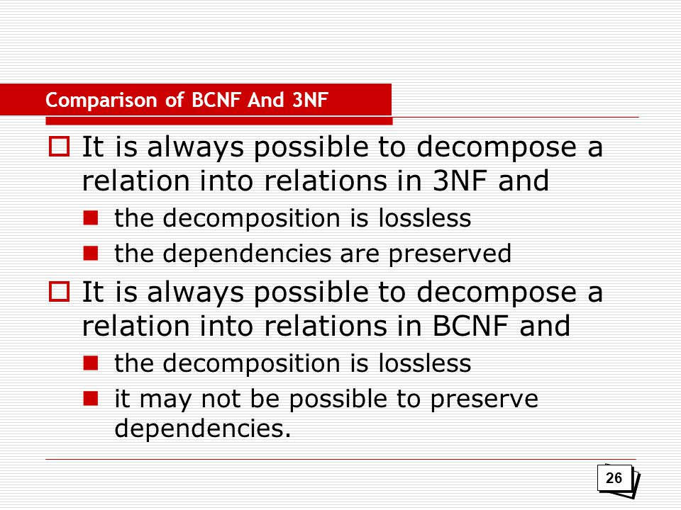 Comparison of BCNF And 3NF
