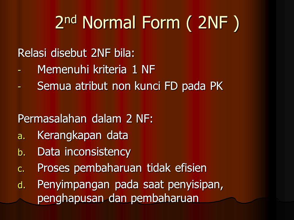 2nd Normal Form ( 2NF ) Relasi disebut 2NF bila:
