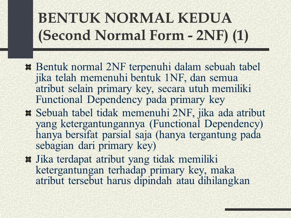 BENTUK NORMAL KEDUA (Second Normal Form - 2NF) (1)