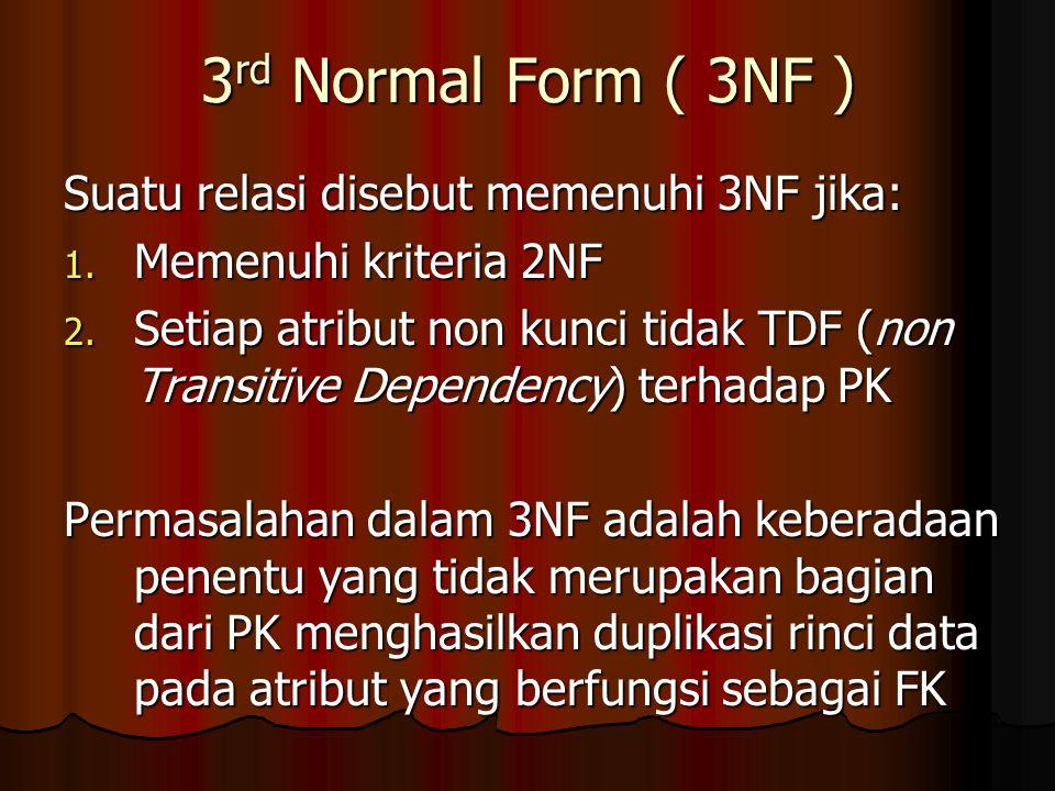 3rd Normal Form ( 3NF ) Suatu relasi disebut memenuhi 3NF jika: