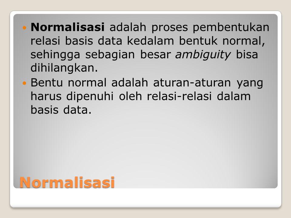 Normalisasi adalah proses pembentukan relasi basis data kedalam bentuk normal, sehingga sebagian besar ambiguity bisa dihilangkan.