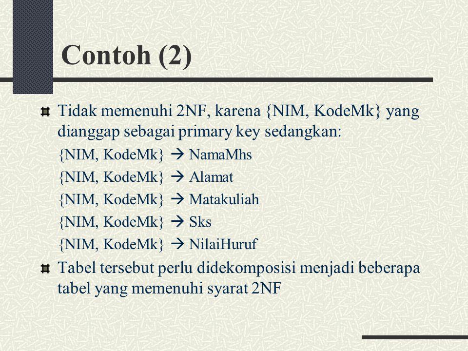 Contoh (2) Tidak memenuhi 2NF, karena {NIM, KodeMk} yang dianggap sebagai primary key sedangkan: {NIM, KodeMk}  NamaMhs.