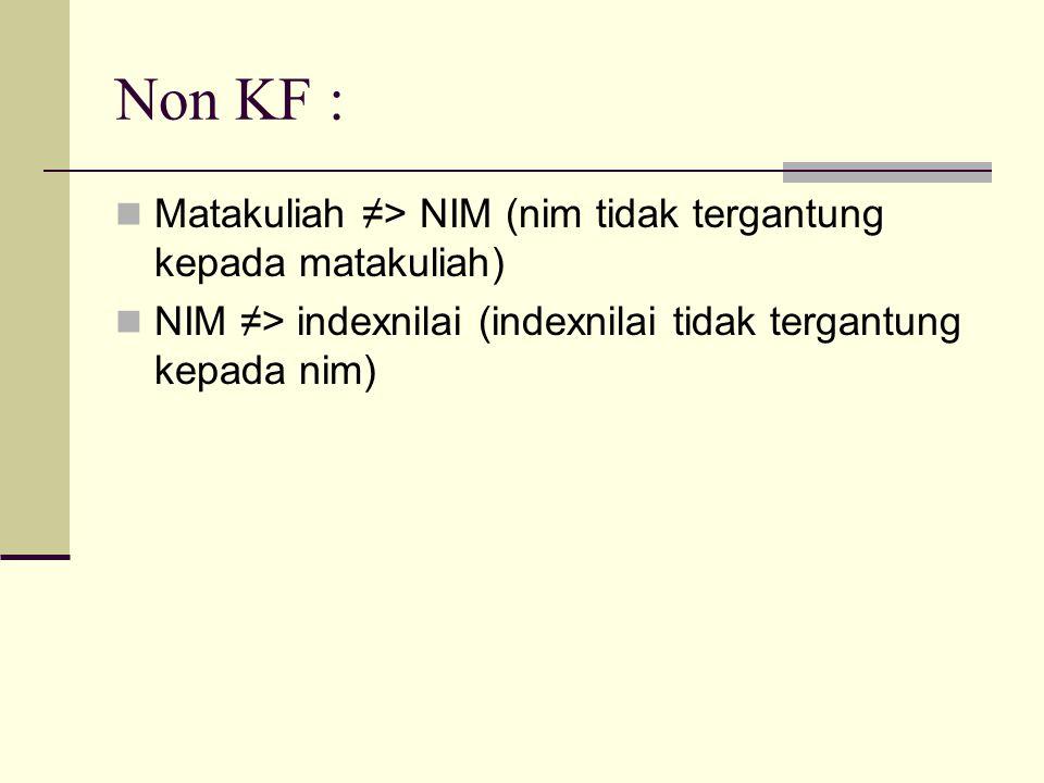 Non KF : Matakuliah ≠> NIM (nim tidak tergantung kepada matakuliah)