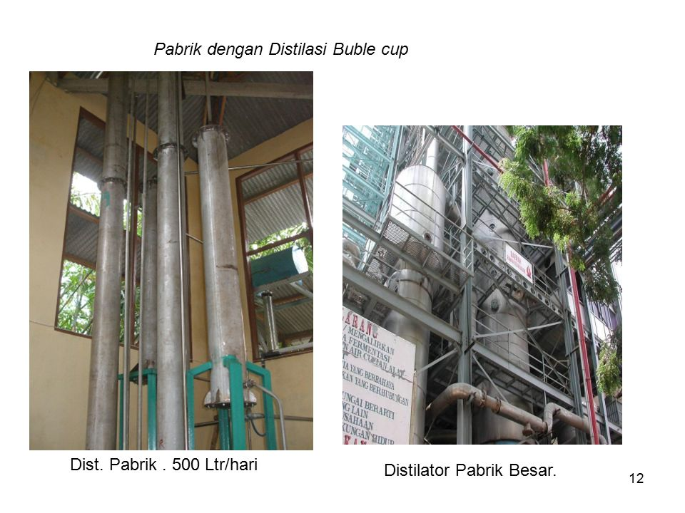 Pabrik dengan Distilasi Buble cup