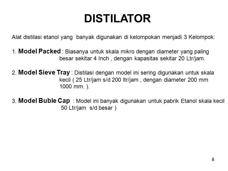 DISTILATOR Alat distilasi etanol yang banyak digunakan di kelompokan menjadi 3 Kelompok: