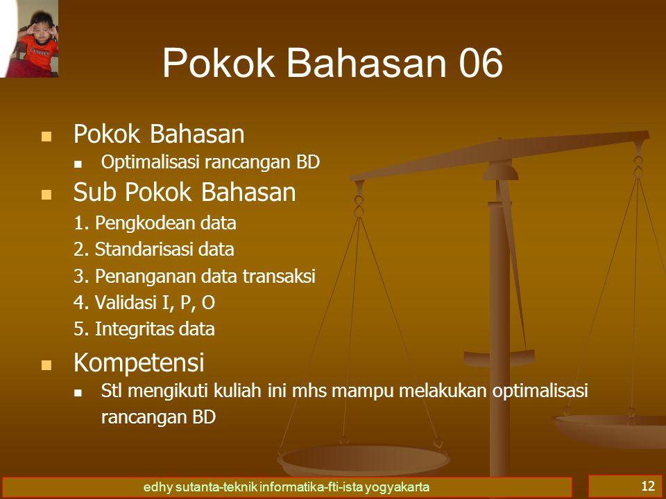 Pokok Bahasan 06 Pokok Bahasan Sub Pokok Bahasan Kompetensi