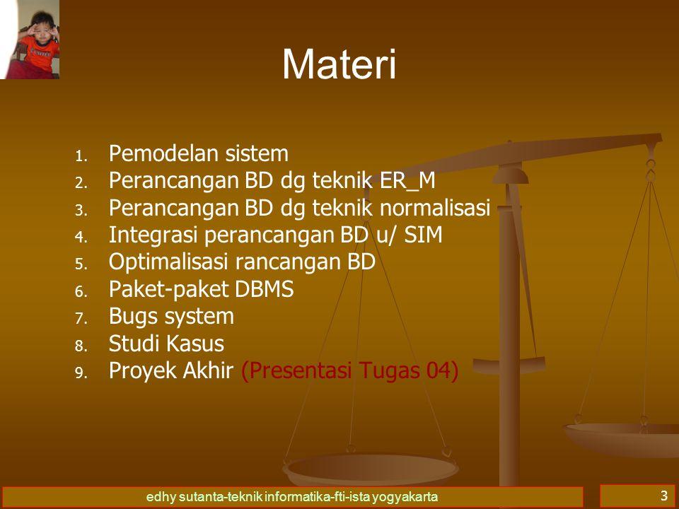 Materi Pemodelan sistem Perancangan BD dg teknik ER_M