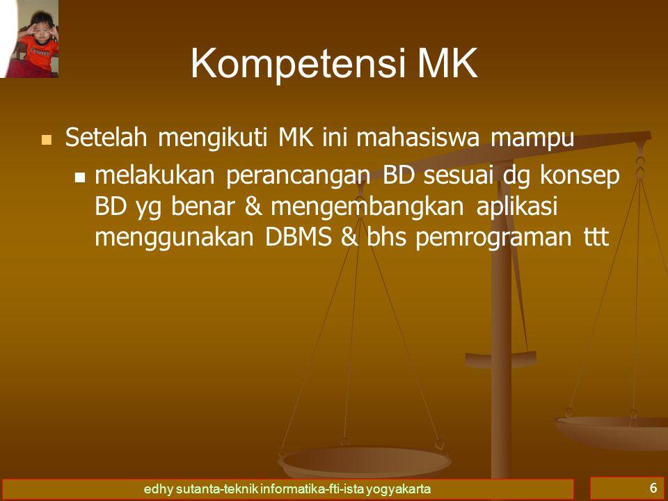 Kompetensi MK Setelah mengikuti MK ini mahasiswa mampu