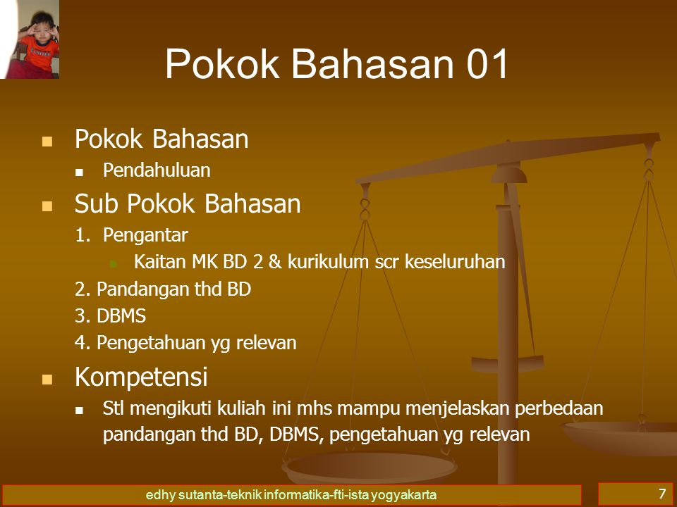 Pokok Bahasan 01 Pokok Bahasan Sub Pokok Bahasan Kompetensi