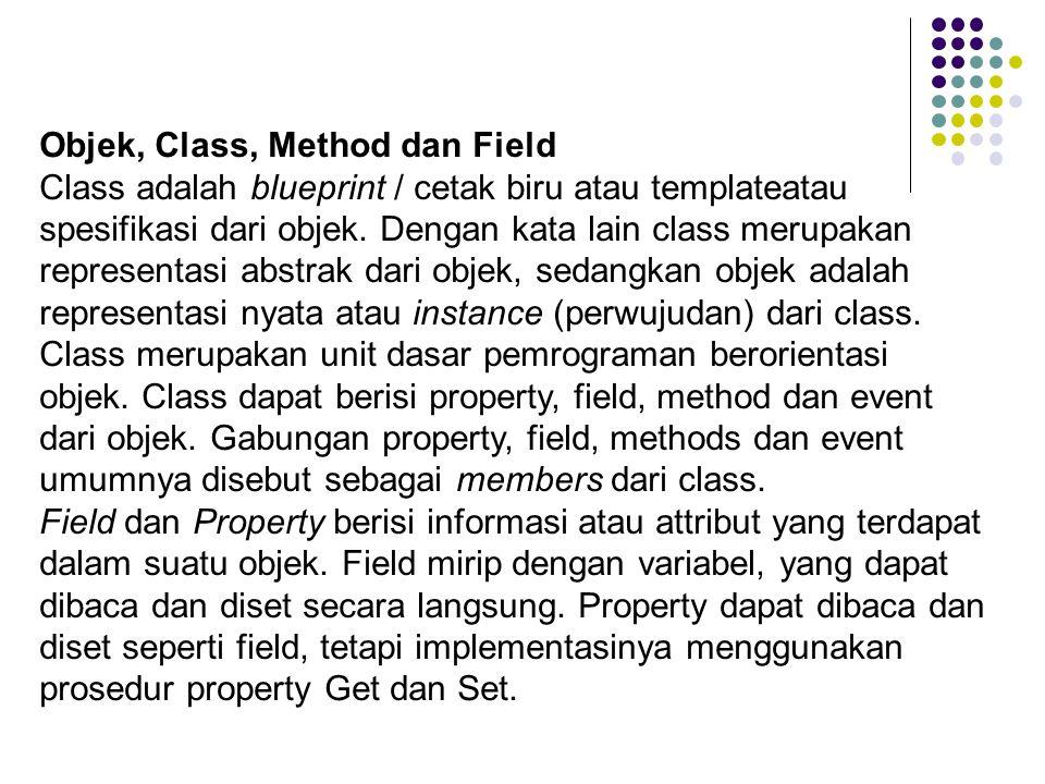 Objek, Class, Method dan Field