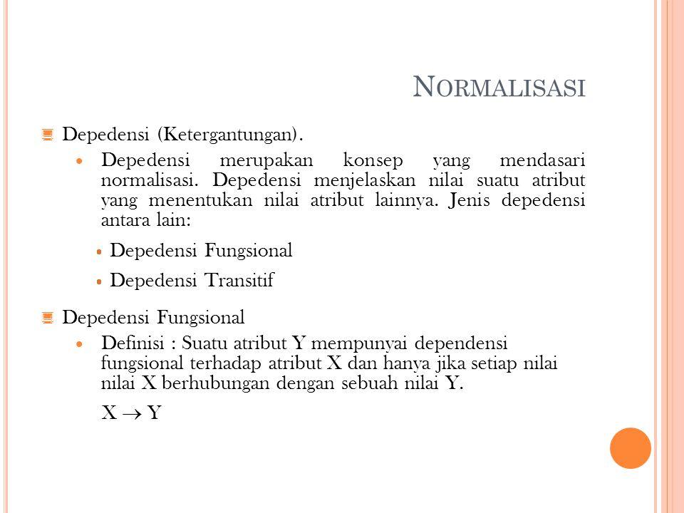 Normalisasi Depedensi (Ketergantungan).