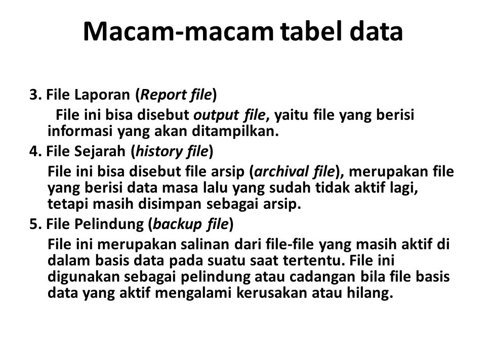 Macam-macam tabel data