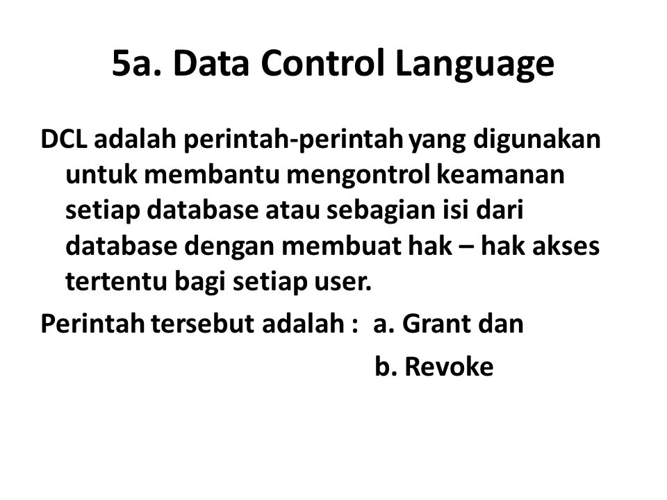 5a. Data Control Language