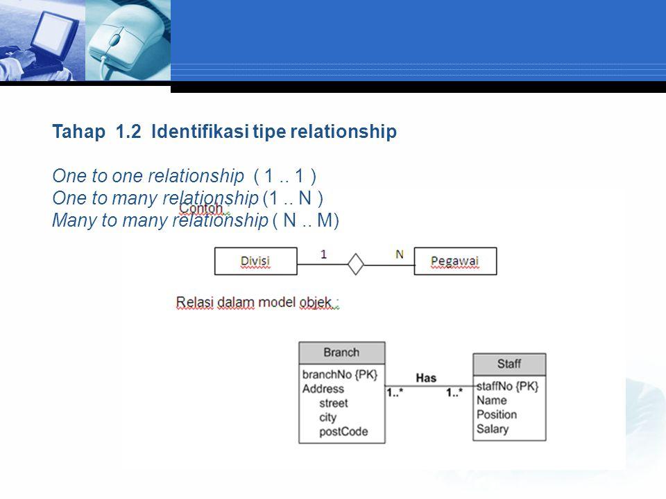 Tahap 1.2 Identifikasi tipe relationship
