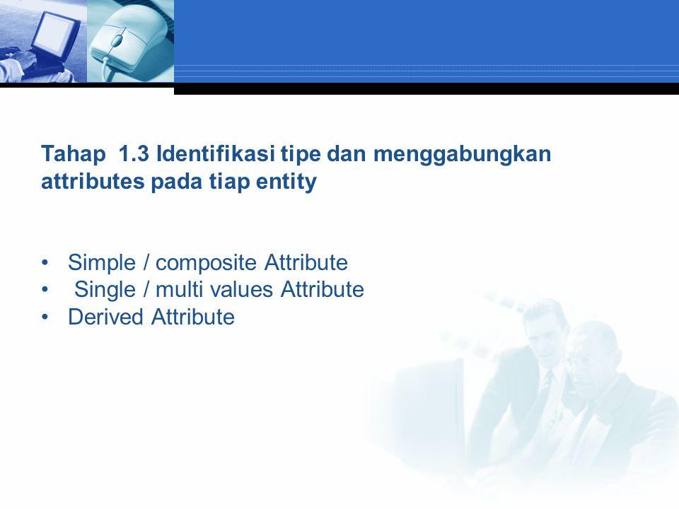 Tahap 1.3 Identifikasi tipe dan menggabungkan attributes pada tiap entity