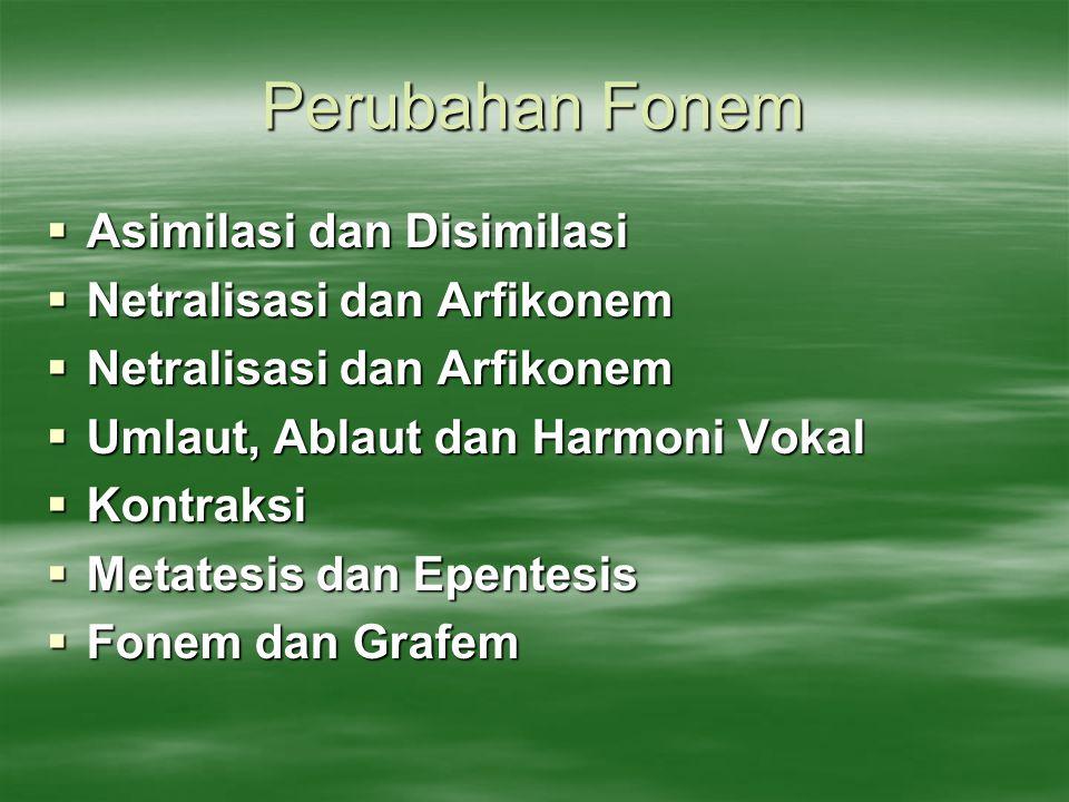 Perubahan Fonem Asimilasi dan Disimilasi Netralisasi dan Arfikonem