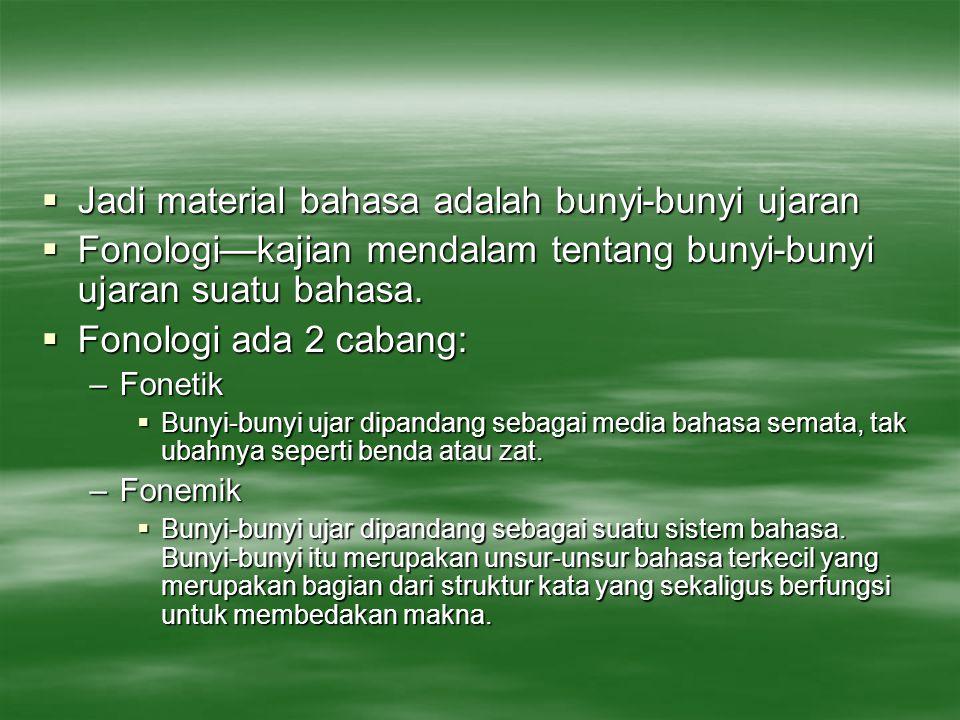 Jadi material bahasa adalah bunyi-bunyi ujaran