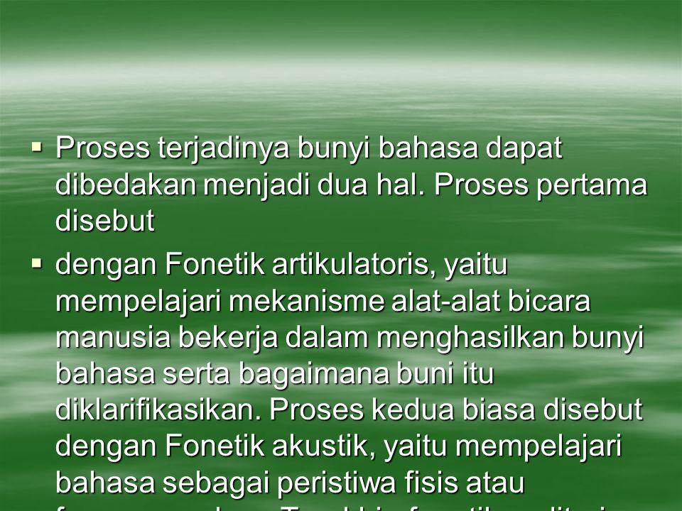 Proses terjadinya bunyi bahasa dapat dibedakan menjadi dua hal