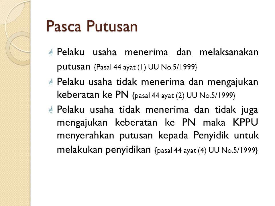 Pasca Putusan Pelaku usaha menerima dan melaksanakan putusan {Pasal 44 ayat (1) UU No.5/1999}
