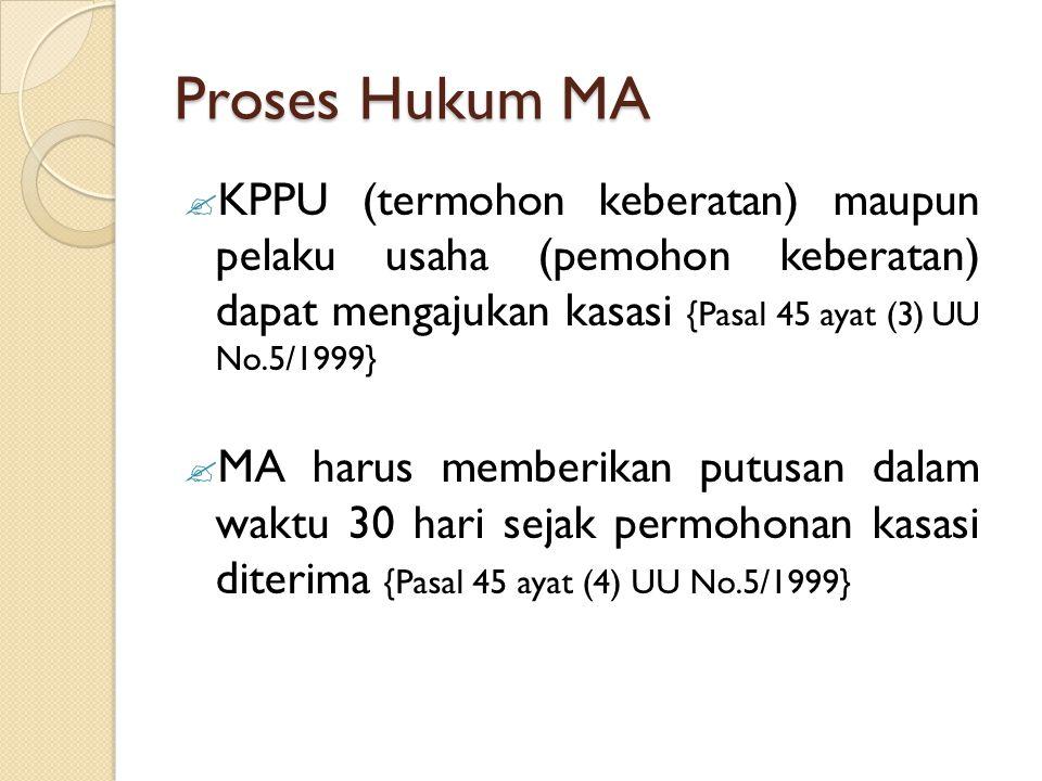 Proses Hukum MA KPPU (termohon keberatan) maupun pelaku usaha (pemohon keberatan) dapat mengajukan kasasi {Pasal 45 ayat (3) UU No.5/1999}