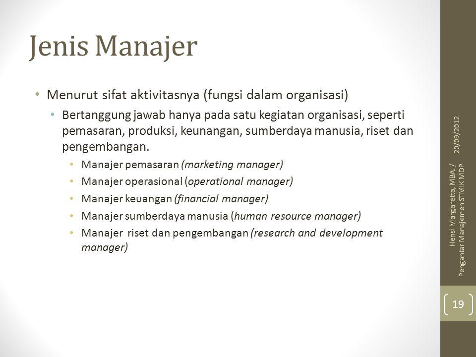 Jenis Manajer Menurut sifat aktivitasnya (fungsi dalam organisasi)