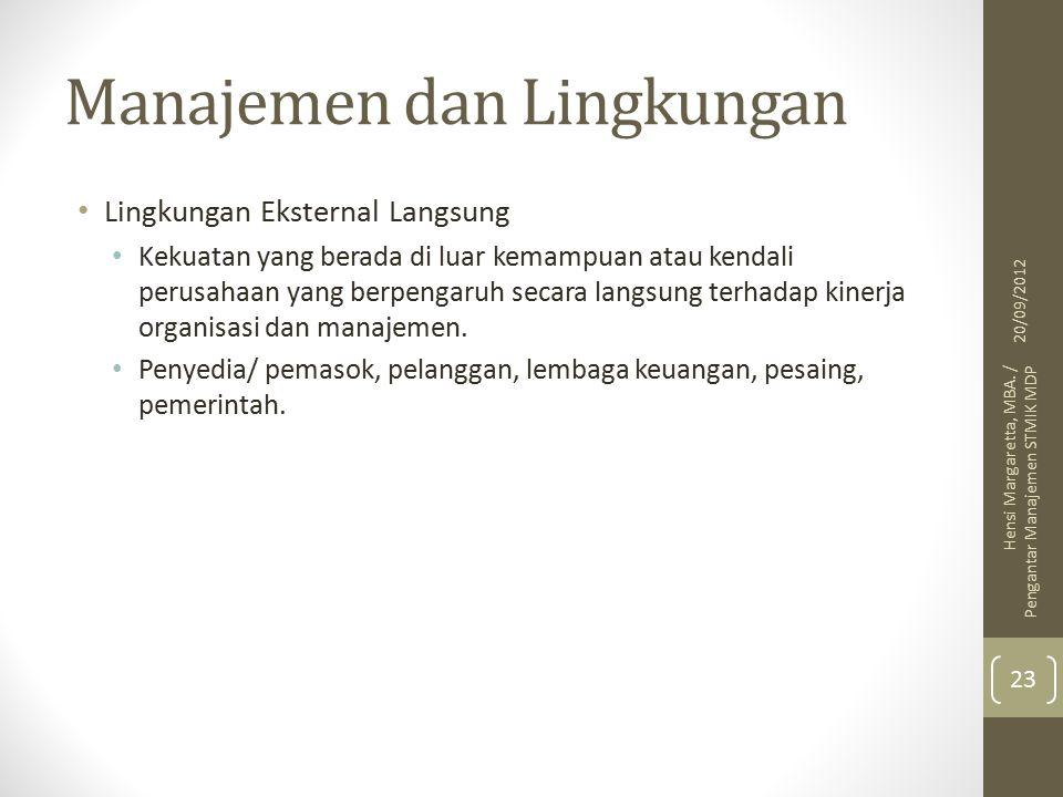 Manajemen dan Lingkungan
