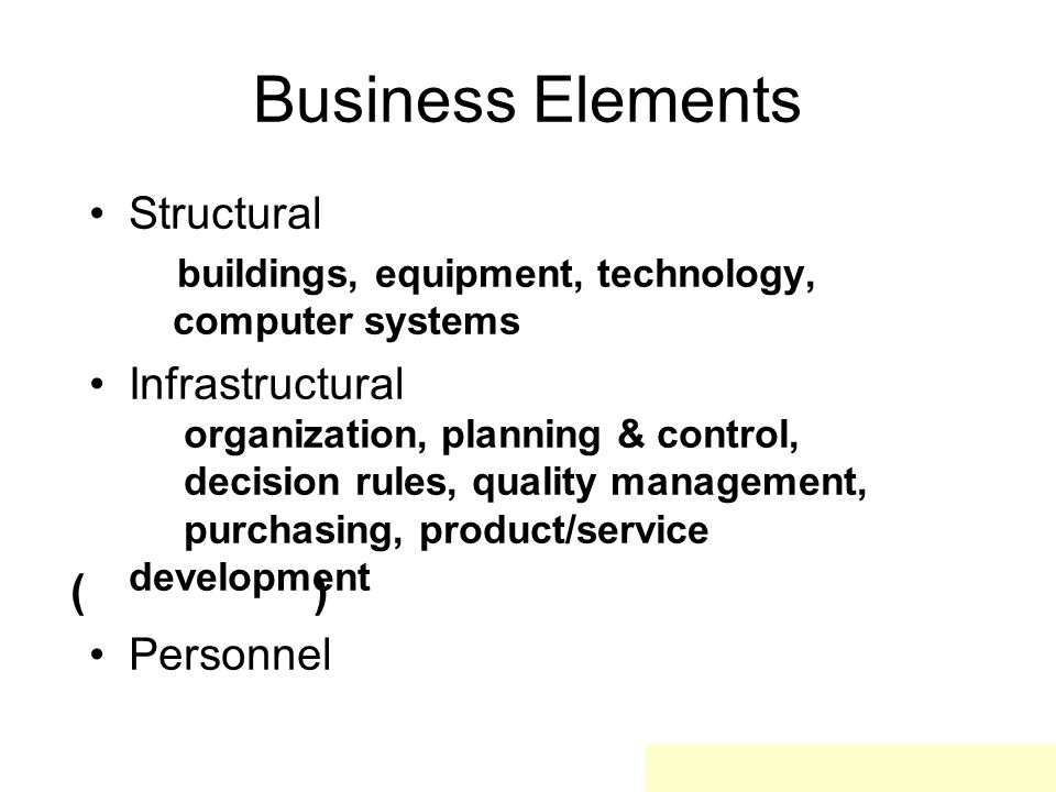 Business Elements Structural