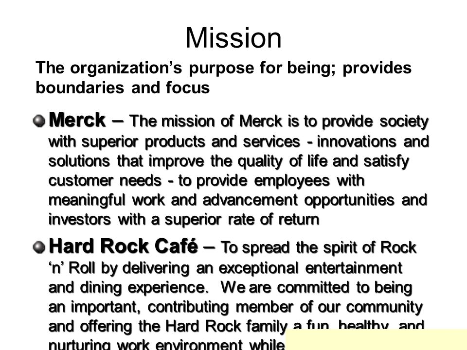 Mission The organization's purpose for being; provides boundaries and focus.