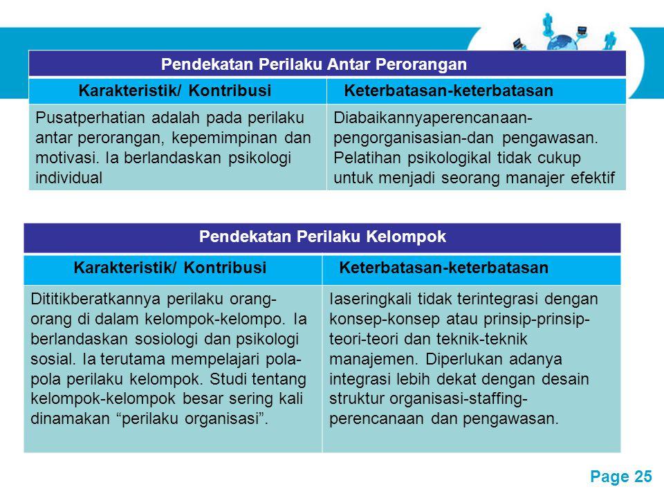 Pendekatan Perilaku Antar Perorangan Karakteristik/ Kontribusi
