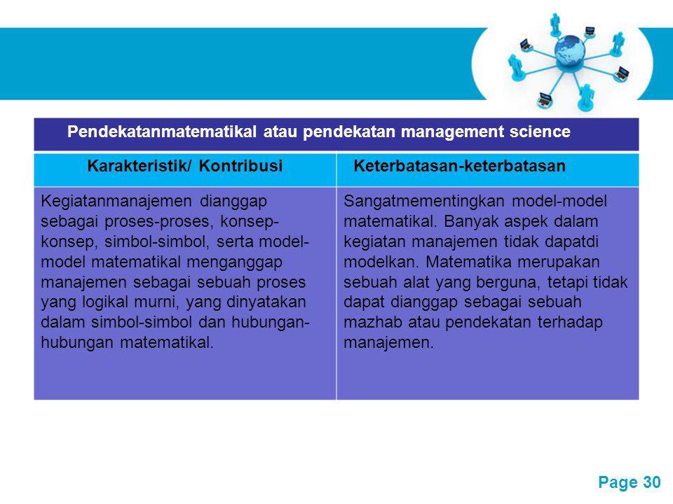 Pendekatanmatematikal atau pendekatan management science