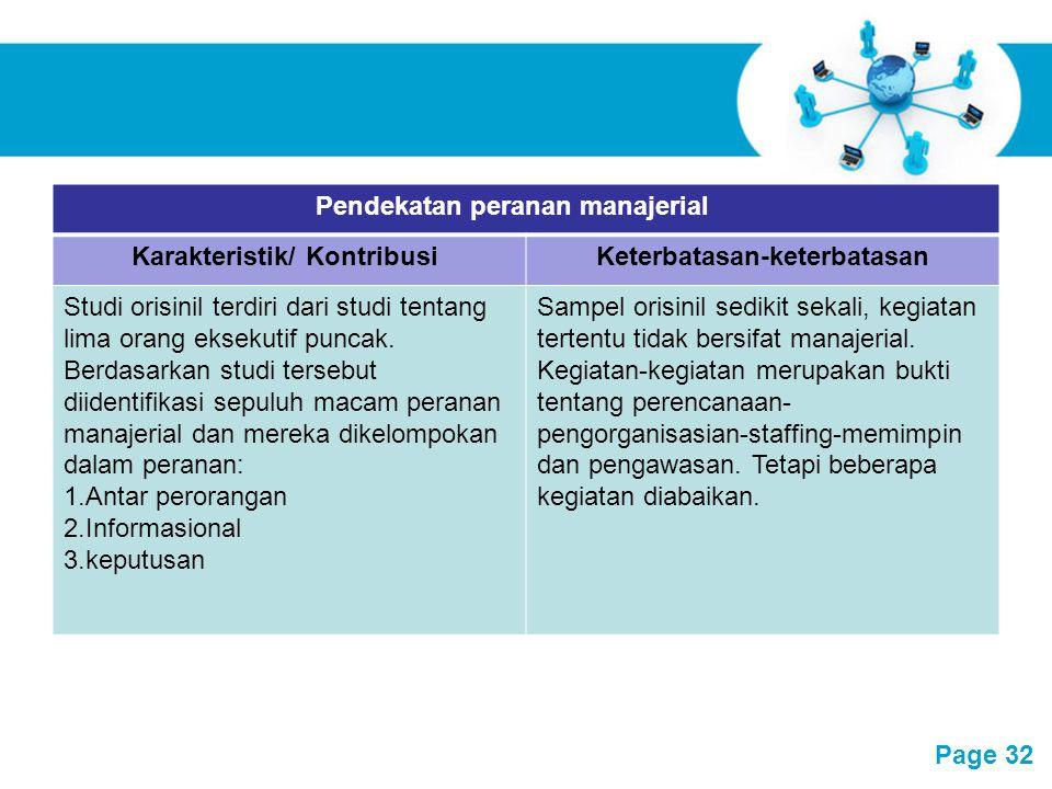 Pendekatan peranan manajerial Karakteristik/ Kontribusi