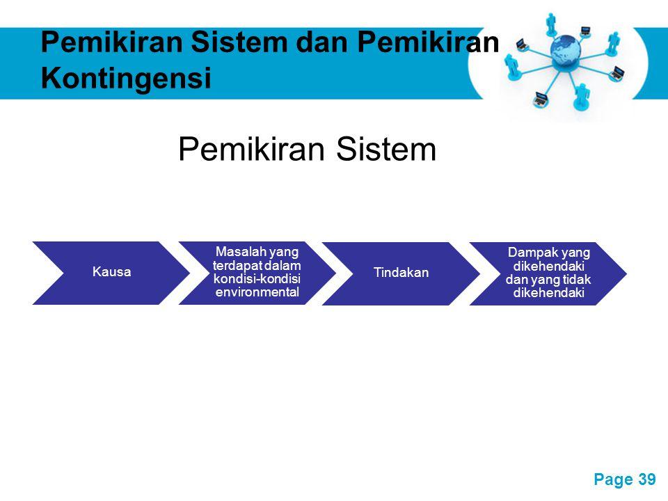 Pemikiran Sistem dan Pemikiran Kontingensi
