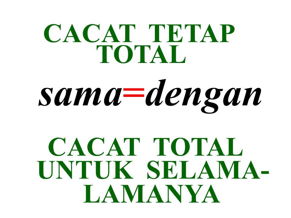 CACAT TETAP TOTAL sama=dengan CACAT TOTAL UNTUK SELAMA- LAMANYA