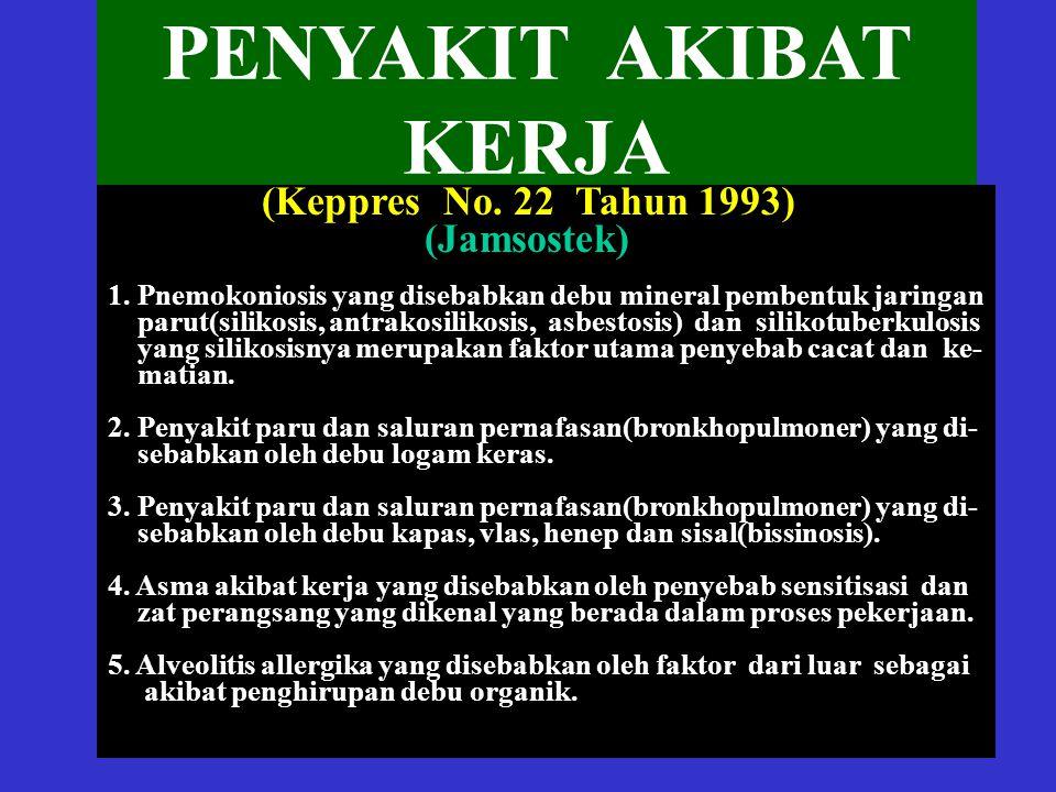PENYAKIT AKIBAT KERJA (Jamsostek) (Keppres No. 22 Tahun 1993)