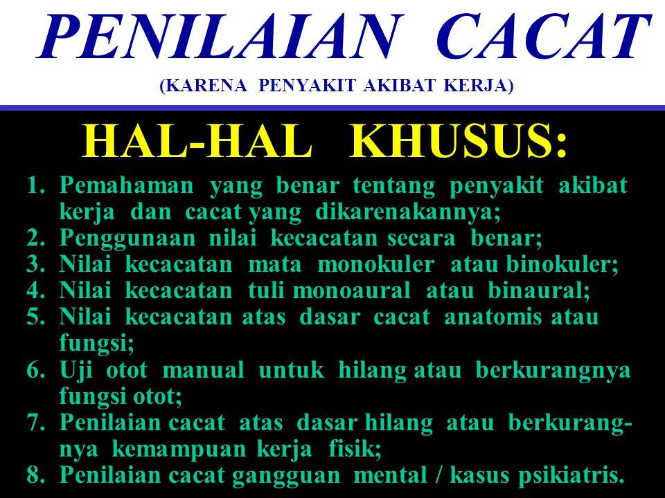HAL-HAL KHUSUS: PENILAIAN CACAT