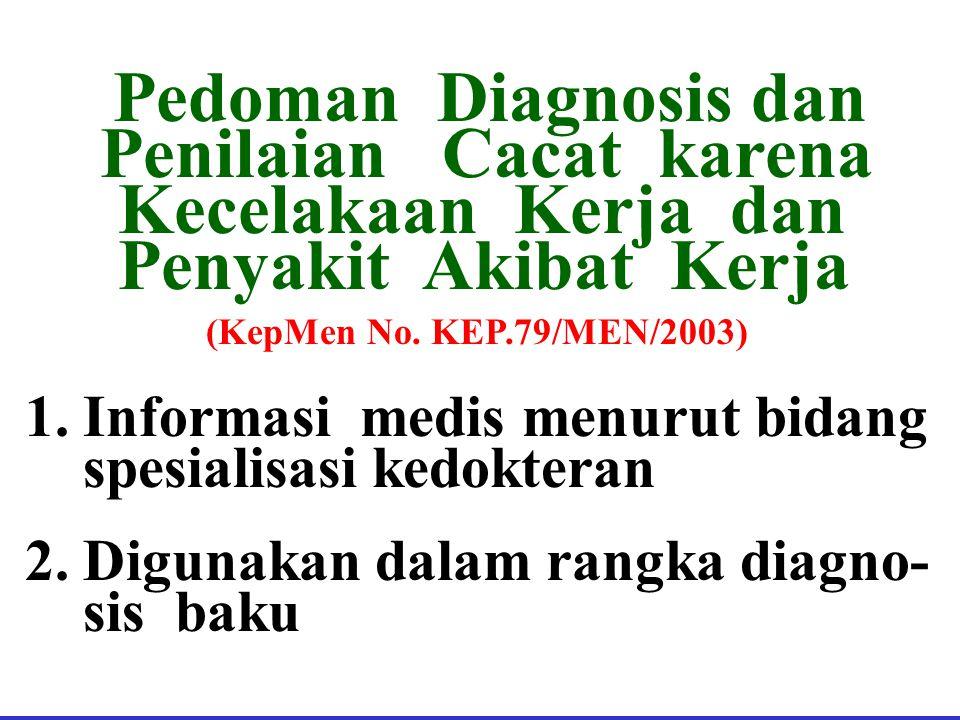 Penilaian Cacat karena Kecelakaan Kerja dan Penyakit Akibat Kerja