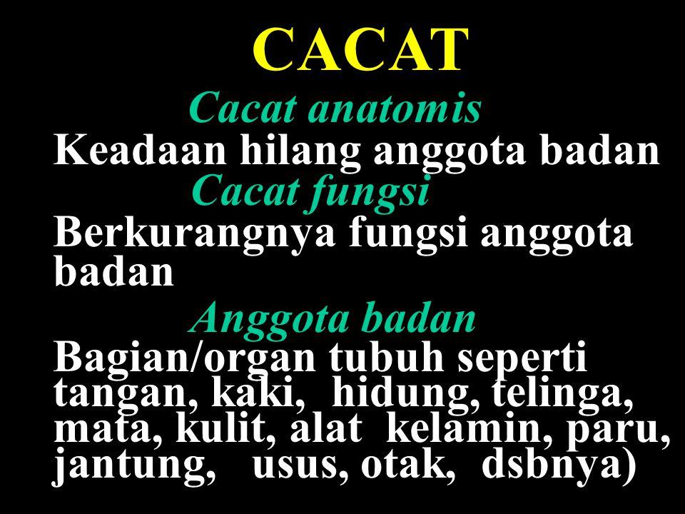 CACAT Cacat anatomis Keadaan hilang anggota badan Cacat fungsi